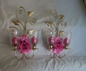 Home Interiors Wall Sconces Votive Cups Candles Florals