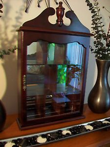 Vintage Cherry Mirrored Wood Curio Miniature Display Cabinet Case Table or Wall