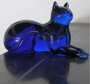 Franklin Cobalt Blue Glass Curio Cabinet Cat