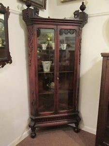S25 Antique Carved Oak Corner Cupboard Cabinet Curio China Display Early Glass