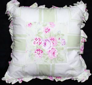 Rachel Ashwell Simply Shabby Chic Floral Bramble Stripe Decorative Pillow Green