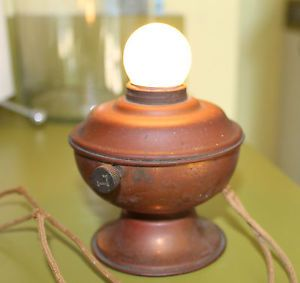 Vintage Small Round Copper Desk Lamp Art Deco Unique Lamp