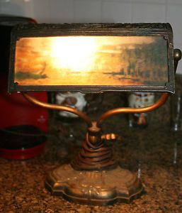 Antique Rainaud Co Cast Iron Bronze Slag Glass Student Bankers Desk Lamp