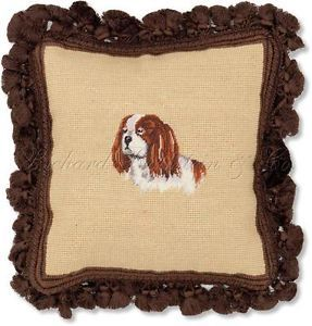 King Charles Spaniel Decorative Dog Needlepoint Pillow
