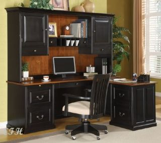 L Shape Two Tone Black Cherry Wood Office Desk Set