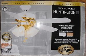 "52"" Hampton Bay Ceiling Fan Huntington III White Brass 5 Reversable Blades"