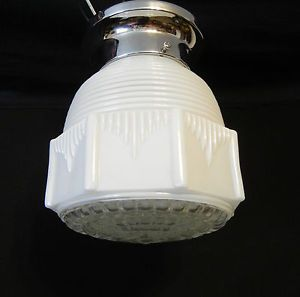 Vintage Art Deco White Clear Glass Skyscraper Light Fixturechrome Flush Mount