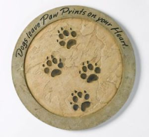 Stone Garden Stepping Stone Puppy Dogs Leave Paw Prints