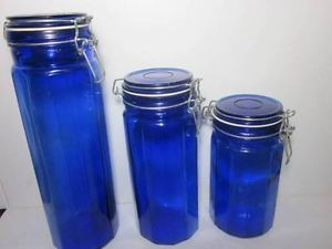 Cobalt Blue Glass Canisters Containers Storage Jars Set of 3 Vtg Circa 1970'S