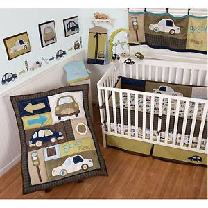 Sumersault Classic Cars 10pc Baby Boy Crib Bedding Set Corduroy Blue Brown Green