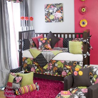 Glenna Jean Baby Girl Black Hawaiian Tropical Crib Nursery Bedding Quilt Set