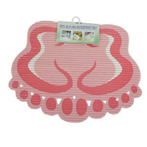 New Bath Bathroom Pink Double Feet Type Anti Slip Mat Rug
