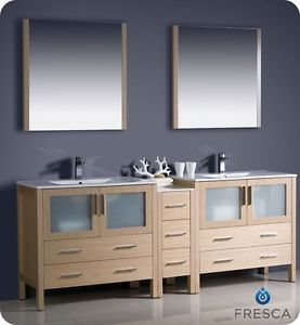 "Fresca 84"" Light Oak Double Sink Bathroom Vanity Side Cabinet Mirrors Faucets"