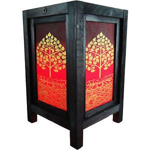 Asian Oriental Lotus Peaceful Zen Art Bedside Desk Table Lamp Wood Shades Lights