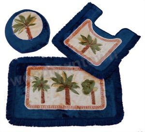 Palm Tree Bathroom Mat 3ps Toilet Cover Lid Mug Rug New