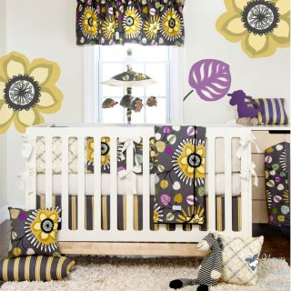 Glenna Jean Baby Girl Grey Yellow Hawaiian Crib Nursery Bedding Cot Quilt Set