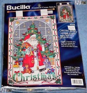 Bucilla Christmas Advent Calendar w Charms Counted Cross Stitch Kit Santa Tree