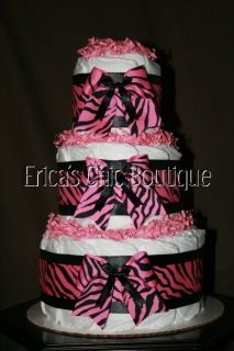 Pink Black Zebra Diaper Cake Baby Girl Shower Gift