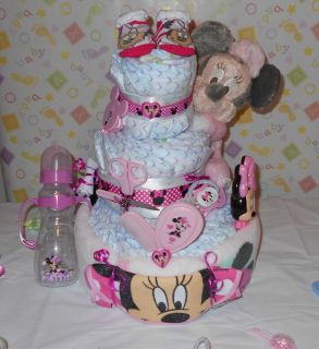 Beautiful 3 Tier Minnie Mouse Diaper Cake Baby Shower Gift Hospital Gift