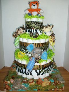 Big Monkey Elephant Tiger Jungle Diaper Cake Baby Shower Centerpiece Boy Neutral