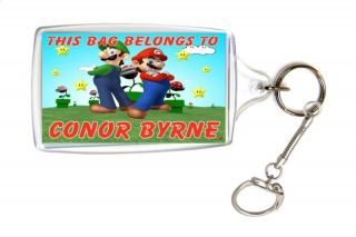 Personalised Super Mario School Bag Lunch Box Name Tag