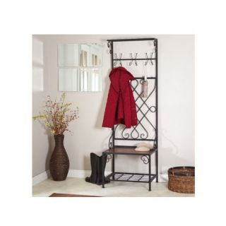 New Hall Tree Bench Coat Rack Entry Way Mud Room Wooden Seat Metal Storage L x W