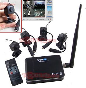 Wireless Mini Hidden Camera 4 with USB DVR Security System Motion Detection