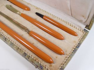 Lovely French Art Deco 5 Pieces Celluloid Desk Writing Set