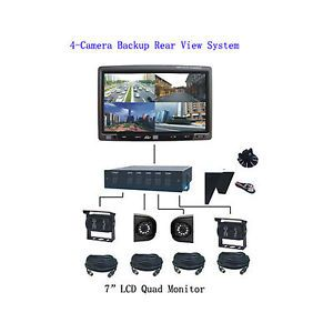 "7"" Quad LCD Monitor 4 CCD Color Camera Rear View Backup System for Truck RV"