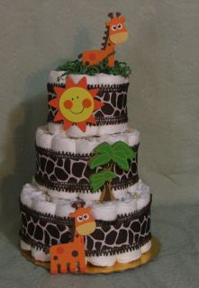 3 Tier Diaper Cake Giraffes Safar Zoo Jungle NoJo JoJo Baby Shower Timbuktu