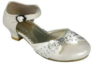 Girls Infant Wedding Bridesmaid Confirmation Communion Party Ivory Diamonte Shoe