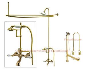 Polished Brass Clawfoot Tub Faucet Shower Kit Enclosure Curtain Rod 553T2CTS