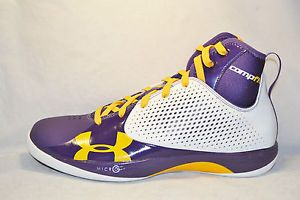Under Armour TB Micro G Juke Mens Basketball Shoes Size 12 5 White Purple Yellow
