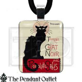 Tournee Du Chat Noir Black Cat Antique Vintage Art Nouveau Deco Pendant Necklace