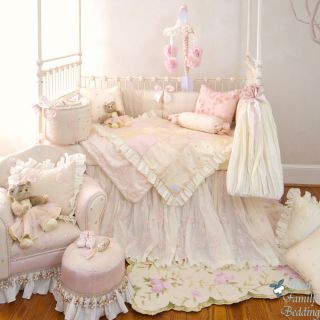 Glenna Jean Baby Girl Pink Cream Luxury Crib Nursery Bedding Designer Quilt Set
