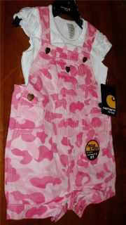 Baby Girl Infant Toddler Carhartt 2 Piece Set Bib Overalls Pink Camo