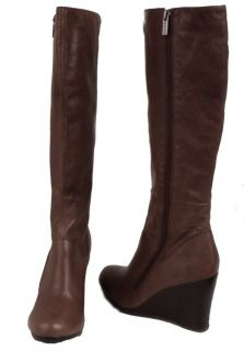 Kenneth Cole Reaction Flirty Skirt Womens Brown Leather Knee High Boots Medium