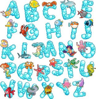 Marine Animals Alphabet Letters Removable Wall Sticker Vinyl Decal Room Decor