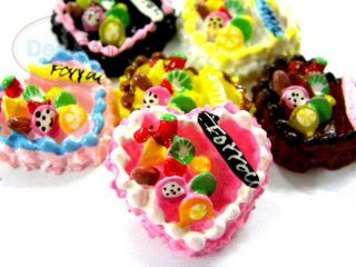 16 Heart Fruit Cake Love Miniature Flatback Resin B1481