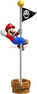 Super Mario Bros Flagpole Win Decal Removable Wall Sticker Home Decor Art Game