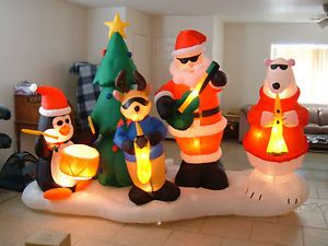 Gemmy Airblown Inflatable Lightshow with Music Santa Band Huge 10ft Long