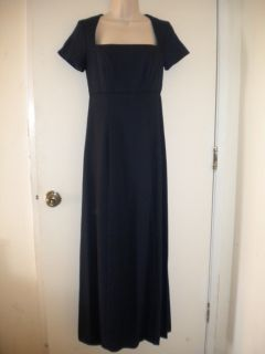 Navy Blue Formal Full Length Dress Gown with Train Petite Sizes