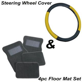 "5pc Set 15"" inch Yellow Black Steering Wheel Cover Gray Grey Carpet Floor Mats"