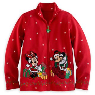 New Disney Parks Santa Mickey Minnie Christmas Sweatshirt Jacket Women Large L