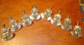 8 Antique Vintage Glass Drawer Pulls Cabinet Knob Dresser with Post and Nuts