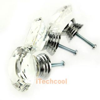 10pc 40mm Crystal Glass Diamond Shape Cabinet Knob Drawer Pull Handle Kitchen T