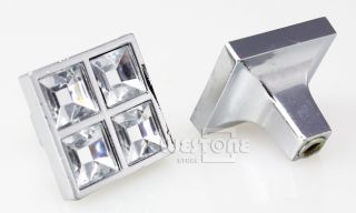 Clear Crystal Square Cabinet Drawer Crystal Glass Knob Knobs New