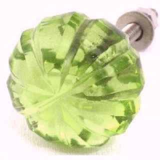8 Fern Green Glass Cabinet Knobs Kitchen Drawer Pulls Furniture Handle K15 2nd