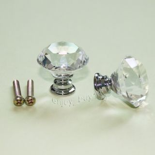 2 Solid Clear Crystal Glass Drawer Pull Cabinet Knob Kitchen Handle 30mm