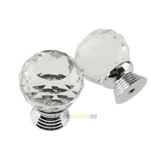 10x Clear Crystal Glass Pull Handle Cabinet Knob Drawer for Door Wardrobe
